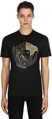 Versace Medusa Studded Cotton Jersey T-Shirt