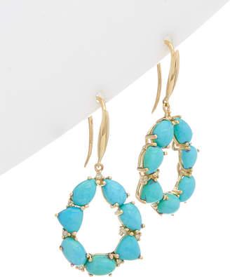 Effy Fine Jewelry 14K 7.30 Ct. Tw. Diamond & Turquoise Drop Earrings