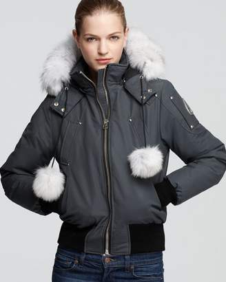 Moose Knuckles Debbie Fox Fur Trim Down Bomber Jacket