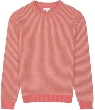 Reiss Filbert - Textured Crew Neck Jumper in Hot Pink