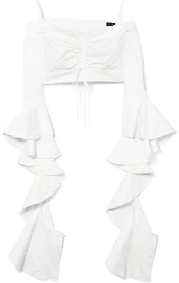 Ellery High Noon Off-the-shoulder Ruffled Cotton-poplin Top - White