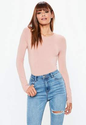 Missguided Nude Long Sleeves Crew Neck Bodysuit