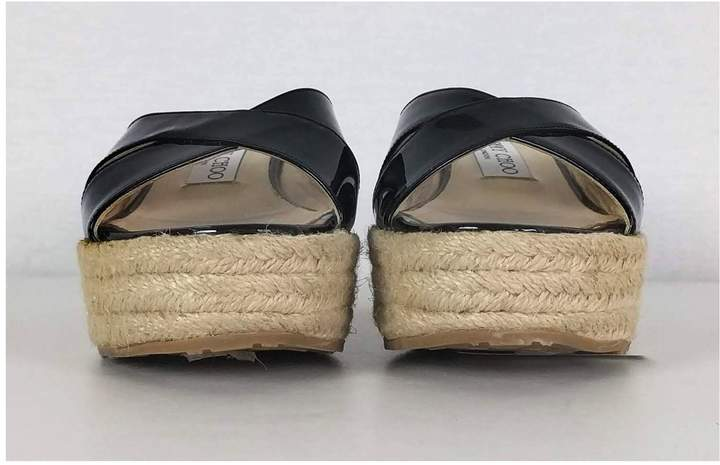 Jimmy Choo- Black Espadrille Wedge Heels Sz 7