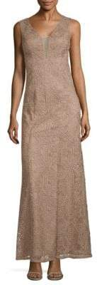 Aidan Mattox Embroidered Sleeveless Gown