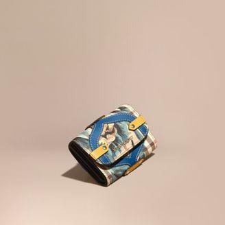 Burberry Leather Appliqué Peony Rose Print Haymarket Check Card Case $350 thestylecure.com