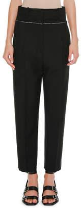 Jil Sander High-Waist Straight-Leg Cropped Wool Pants