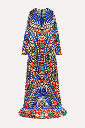 Naeem Khan Printed Silk-satin Gown - Cobalt blue