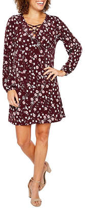 Chetta B BE BY Be by Long Sleeve Floral Puff Print Shift Dress