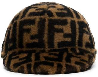 Fendi Black and Brown Printed Cashmere and Wool Cap