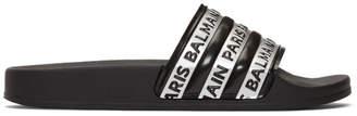 Balmain Black and Silver Logo Slides