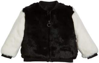 Adrienne Landau Two-Tone Fur Varsity Jacket Size 4-12