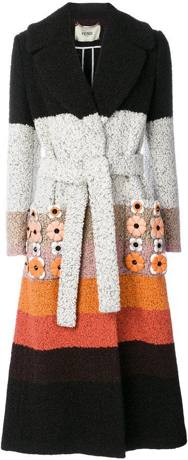 Fendi striped appliqué coat