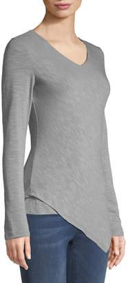 Metric Knits Asymmetric-Hem Long-Sleeve Tee