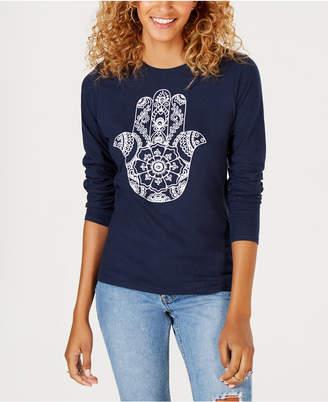 Freeze 24-7 Juniors' Cotton Hamsa-Graphic T-Shirt