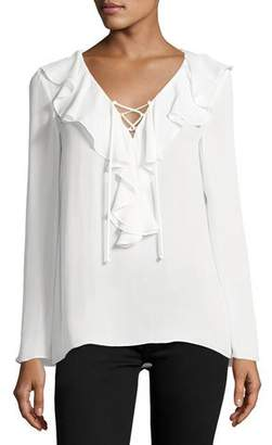 Ramy Brook Kenza Ruffled Lace-Up Blouse, Soft White $345 thestylecure.com
