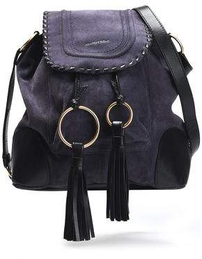 See by Chloe Polly Leather-Trimmed Tasseled Suede Shoulder Bag