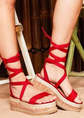4b6aa18e8e01 Missy Empire Missyempire Jolene Red Suede Tie Up Espadrille Platform Sandals