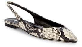 Brian Atwood Snakeskin Slingback Flats