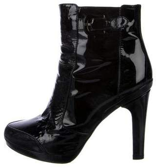 Fendi Patent Leather Pointed-Toe Ankle Boots