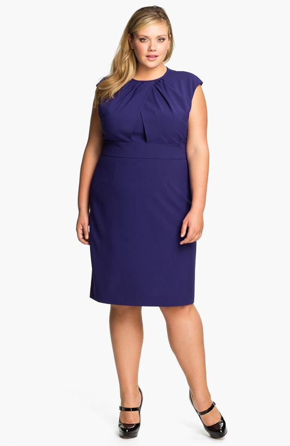 Calvin Klein Cap Sleeve Sheath Dress (Plus)