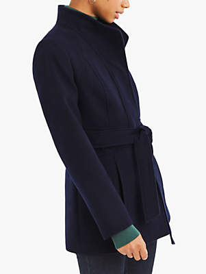 Panel Fitted Coat, Navy