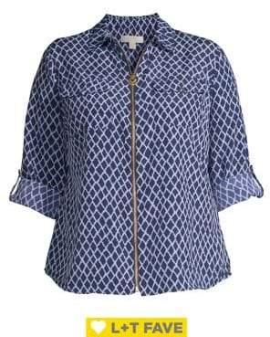 Michael Kors Plus Diamond Ikat Zip-Front Blouse