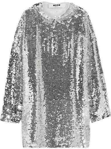 MSGM - Sequined Tulle Hooded Top - Silver