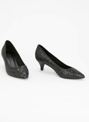 ce20a2e3d04db EXTRA WIDE FIT Black Sparkle Court Shoes