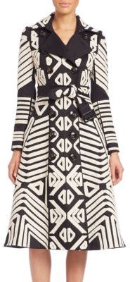 Burberry Tribal-Print Cashmere Trenchcoat $4,895 thestylecure.com