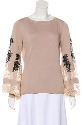 Valentino Lace-Trimmed Long Sleeve Top