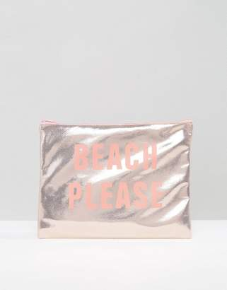 South Beach Beach Please Pink Metallic Pouch