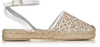 Oscar de la Renta Tina White & Beige Lasercut Leather and Raffia Espadrilles