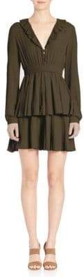 No.21 Silk-Blend Tiered Pleated Dress