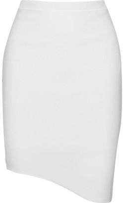 Mugler - Asymmetric Stretch-knit Mini Skirt - Ivory $610 thestylecure.com