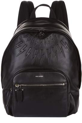 Neil Barrett Leather Thunderbolt Backpack