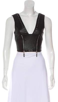 Thomas Wylde Leather Studded Crop Top