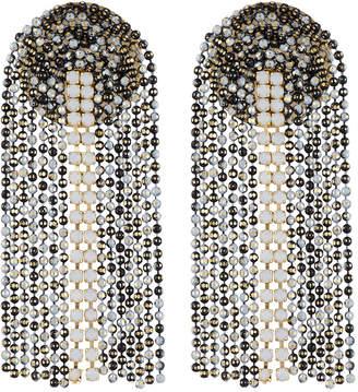 Serefina Fringe Drop Post Earrings, Black/White