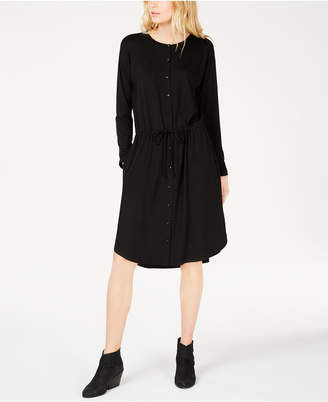 Eileen Fisher Stretch Jersey Drawstring-Waist Shirtdress