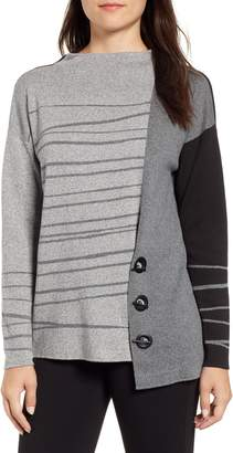 Nic+Zoe Toggled Stripe Sweater