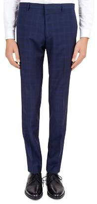 The Kooples Hidden Lines Checked Wool Slim Fit Trousers