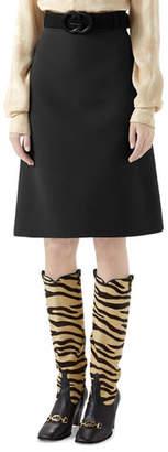 Gucci Knee Length Cady Crepe Skirt w/ GG Belt