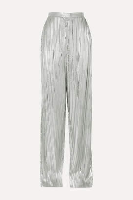 Rodarte Pleated Lame Wide-leg Pants - Silver