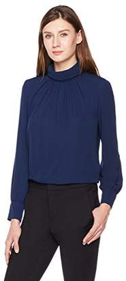 Essentialist Women's Silky Crepe High Neck Victorian Long-Sleeve Blouse