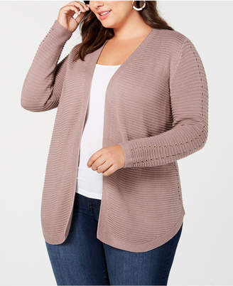 Belldini Belle by Plus Size Ribbed-Knit Cardigan