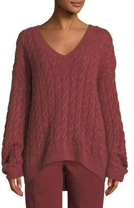 Vince Cable-Knit V-Neck Pullover Sweater