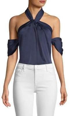 Drape Sleeve Cold Shoulder Bodysuit