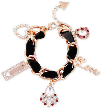 GUESS Gold-Tone Crystal & Woven Faux Suede Charm Bracelet