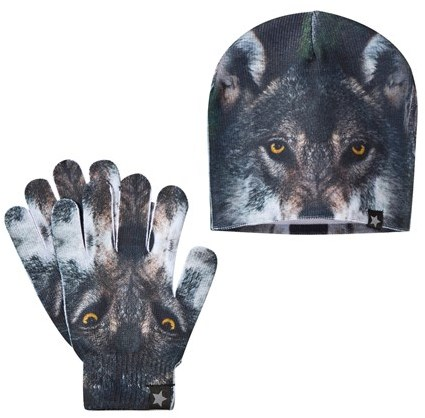 Molo Wolf Print Kaya Hat and Gloves Set