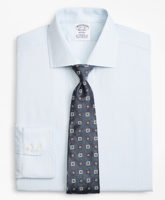 Brooks Brothers Stretch Regent Fitted Dress Shirt, Non-Iron Royal Oxford Framed Ground Stripe