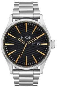 Nixon Sentry Short Sleeve Black Stamped Gold Watch
